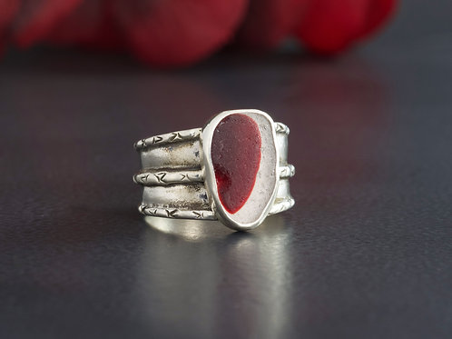 Sea Glass Silver Bezel Red Ring Sz 6 1/2
