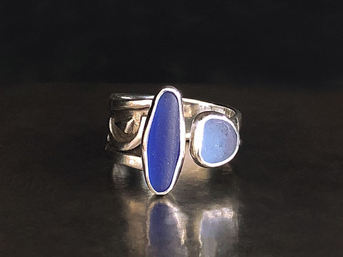 Cobalt & Cornflower Blue Adjustable Ring