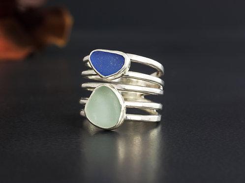 Sea Glass Silver Ring Bezel Sz 7 1/2