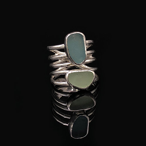 Sea Foam and Teal 5 Wire Wrap Ring