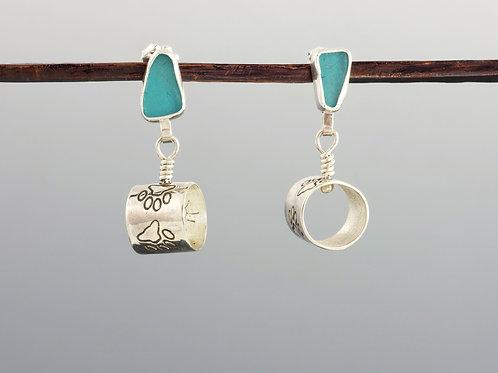 Turquoise Sea Glass Studs