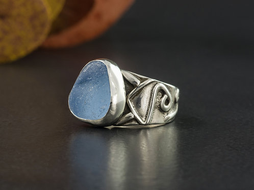 Sea Glass Silver Ring Baby Blue Sz 5