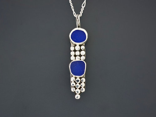 2 Cobalt Blue Sea Glass Necklace
