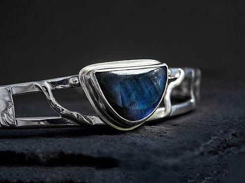 Labradorite Gemstone Silver Cuff Bracelet