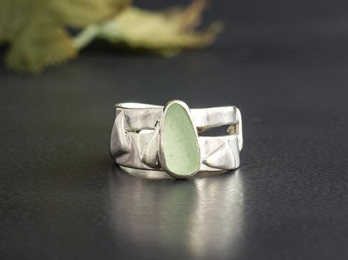 Sea Glass Silver Ring Bezel Sea Foam Sz 7