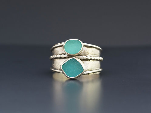 Turquoise Sea Glass Statement Ring