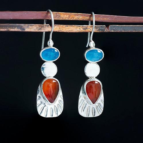 Blue Chalcedony and Orange Agate Earrings