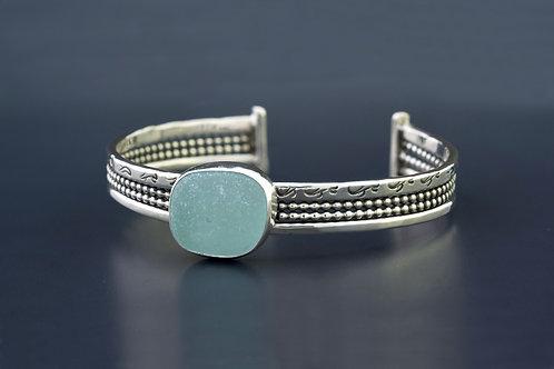 Sea Glass Silver Cuff Aqua Sz Small