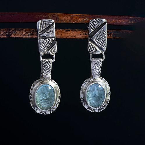 Aquamarine Drop Dangle Stud Earrings