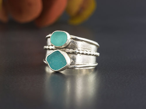 Sea Glass Silver Ring Turquoise Sz 10 1/2