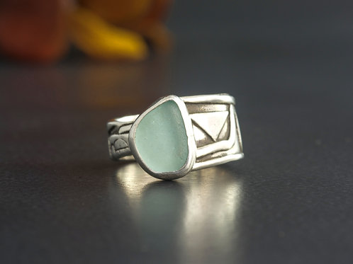 Sea Glass Silver Bezel Aqua Sz 5
