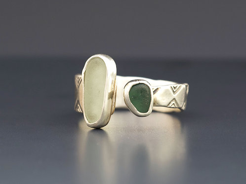 Size 11 Sea Foam & Green Sea Glass Ring