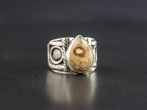 Picture Jasper Silver Statement Ring