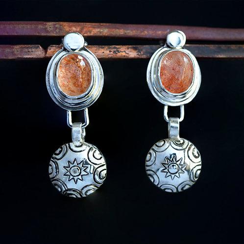 Sunstone Cabochon Dangle Silver Stud Earrings