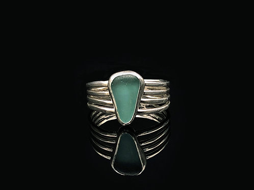Teal Sea Glass 4 Wire Ring