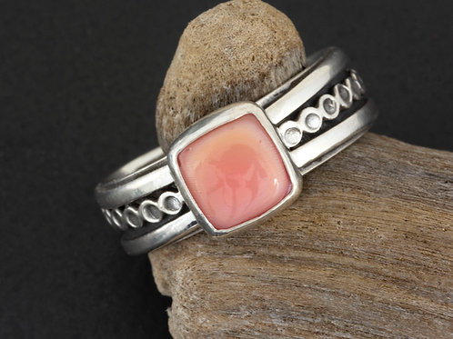 Rare Pink Conch Gemstone Ring