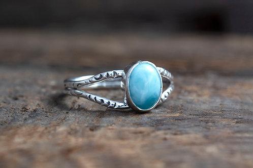 Larimar Gemstone 2 Wire Silver Ring