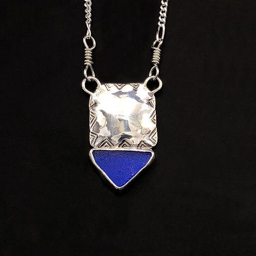 Sea Glass Silver Necklace Cobalt