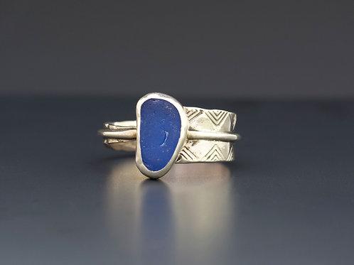 Cobalt Blue Sea Glass Adjustable Ring