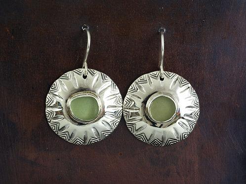 Sea Glass Silver Dangle Earrings