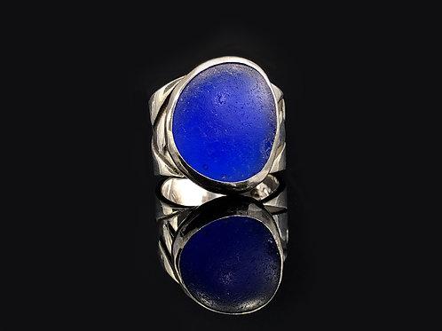 Cobalt Blue Sea Glass Statement Ring