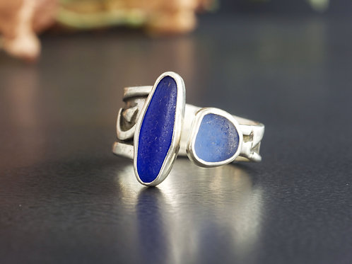 Sea Glass Silver Ring Adjustable Blue Sz 9 1/2