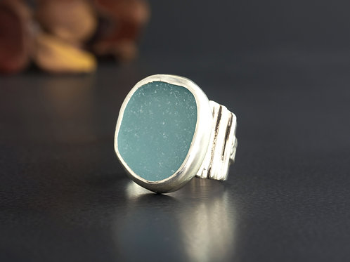 Sea Glass Silver Statement Ring Bezel Aqua Sz 6 1/2