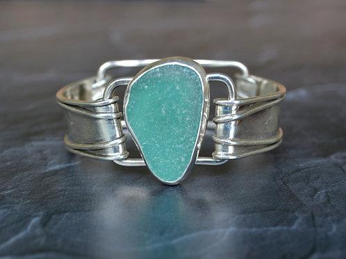Teal Sea Glass Clip Bracelet