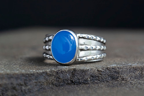 Blue Chalcedony Cabochon Silver Statement Ring