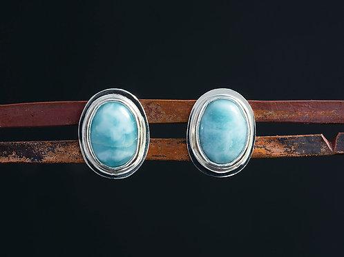 Larimar Cabochon Silver Stud Earrings