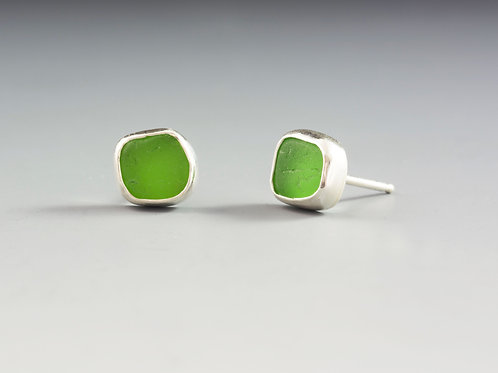 Green Sea GlassStuds