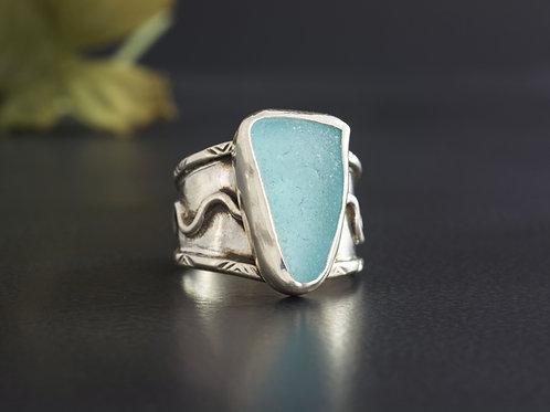 Sea Glass Silver Statement Ring Light Blue Sz 8