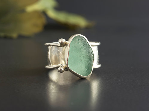 Sea Glass Silver Ring Teal Sz 10