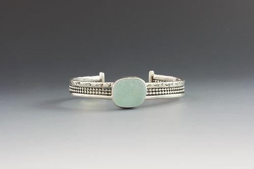Aqua Sea Glass Cuff