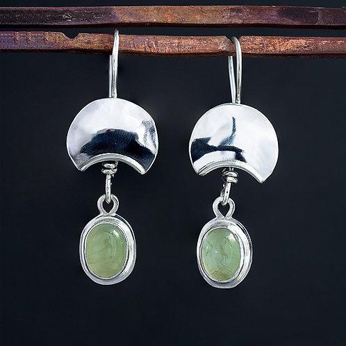 Oval Prehnite Cabochon Drop Dangle Silver Earrings