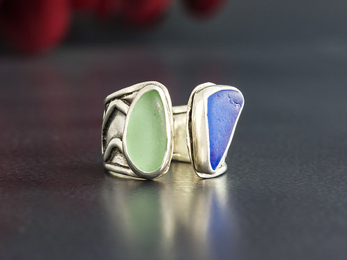 Sea Glass Silver Adjustable Ring 5 1/2
