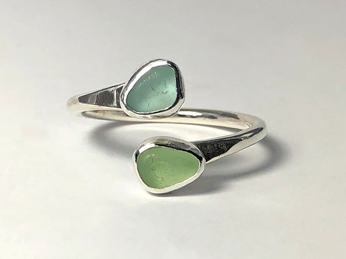 2 Color Sea Glass Rings