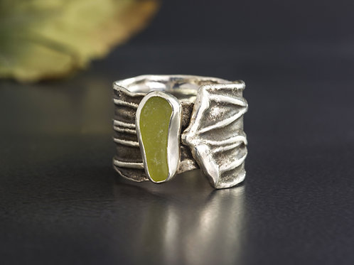 Sea Glass Silver Ring Olive Sz 9