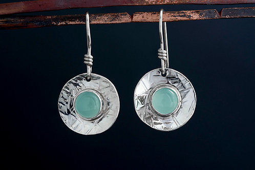 Aqua Chalcedony Drop Dangle Silver Earrings