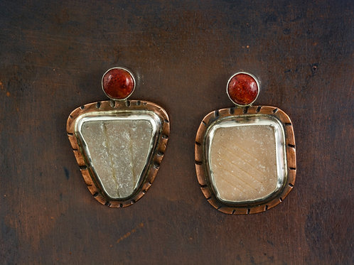 White Sea Glass Studs with Coral Cabochons