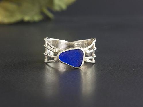 Sea Glass Silver Ring Cobalt Blue Sz 9 1/2