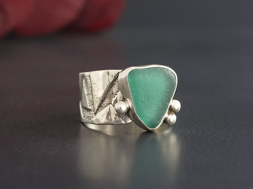 Sea Glass Silver Ring Dark Teal Sz 10