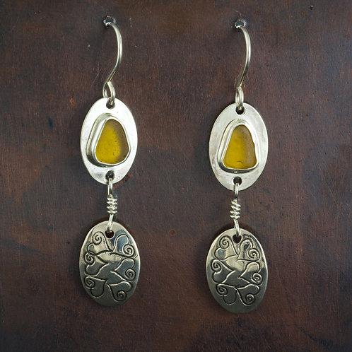 Sea Glass Silver Dangle Earrings Amber