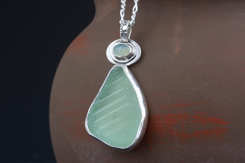 Sea Glass Necklace with Blue Chalcedony