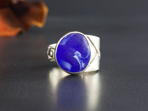 Sea Glass Silver Ring Bezel Cobalt Blue Sz 7 1/2