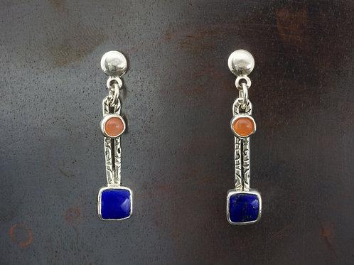Peach Moonstone and Lapis Stud Earrings