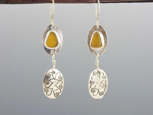 Yellow Sea Glass Earrings