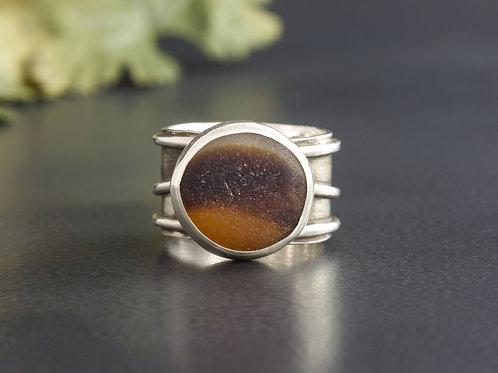 Sea Glass Silver Ring Bezel Brown Sz 7