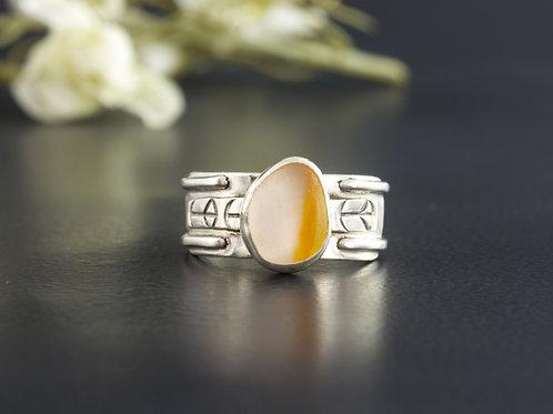 Sea Glass Silver Ring Orange White Sz 10 1/2
