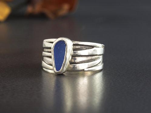 Sea Glass Silver Ring Cornflower Blue Sz 8 1/2